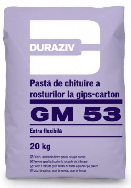 DURAZIV Pastă de chituire a rosturilor la gips-carton GM 53 20Kg 0