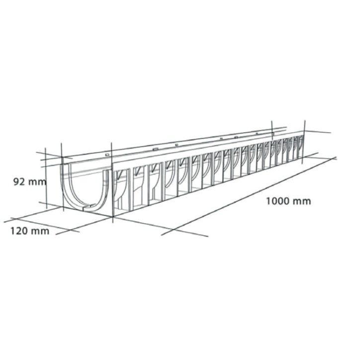 Rigolă 100/70 cu gratar PEHD, slot 8mm, 100x12x9.2cm, cu muchie din PEHD [1]