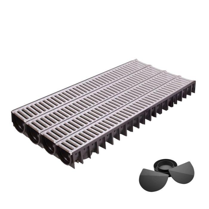Set 4 rigole din HDPE, cu gratar din otel zincat, lungime 4000x120x92mm [0]