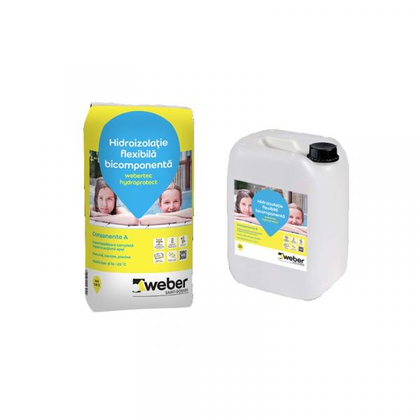 Webertec Hydroprotect hidroizolatie flexibila bicomponenta pentru interior si exterior - 30Kg 0
