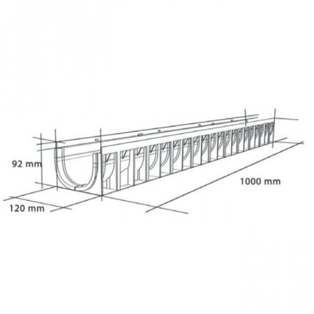 Rigolă 100/70 cu gratar PEHD, slot 8mm, 100x12x9.2cm, cu muchie din PEHD [2]