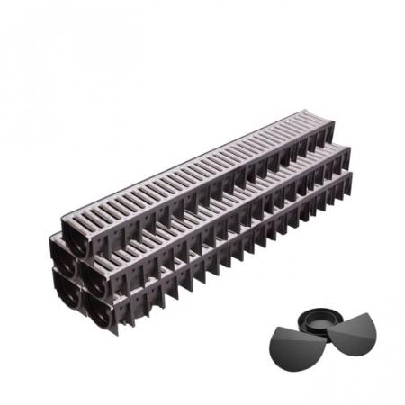 Set 5 rigole din HDPE, cu gratar din otel zincat, lungime 5000x120x90mm [0]