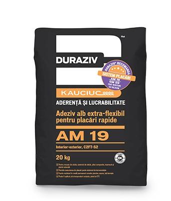 DURAZIV AM 19 Adeziv alb extra-flexibil pentru placări rapide, la interior și exterior, aditivat cu Kauciuc 0