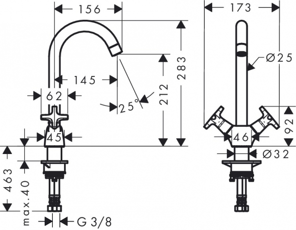 Baterie bucatarie Hansgrohe Logis Classic dubla-comanda 1