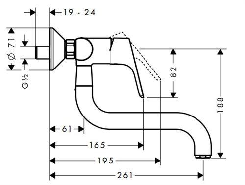 Baterie bucatarie Hansgrohe Focus dubla-comanda, montare pe perete 1