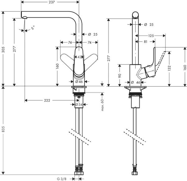 Baterie bucatarie Hansgrohe Focus 280, negru mat [1]