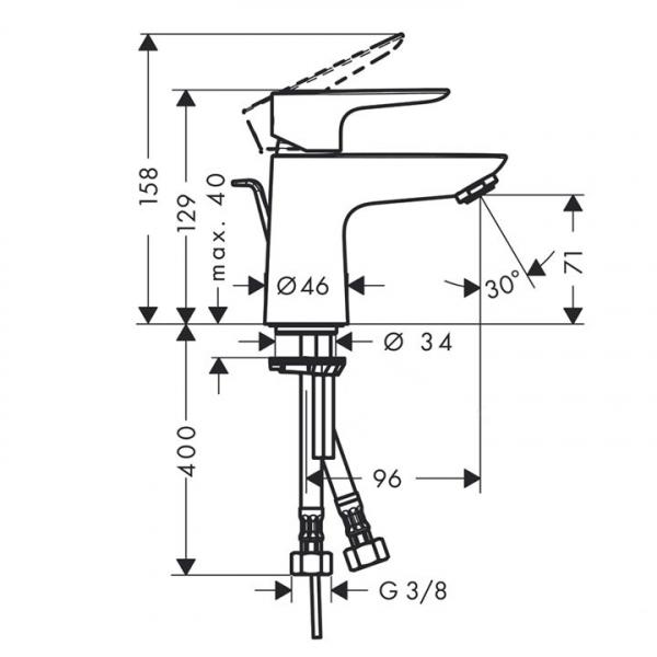 Baterie lavoar Hansgrohe Talis E 80, ventil pop-up [1]
