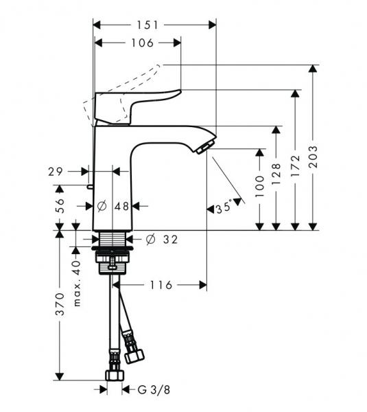 Baterie lavoar Hansgrohe Metris 110, ventil pop-up, crom [1]