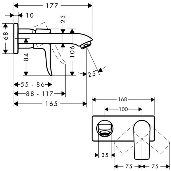 Baterie lavoar Hansgrohe Metris 165 de perete, montaj incastrat, necesita corp ingropat 1