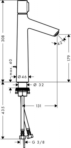 Baterie lavoar Hansgrohe Metropol 100, ventil push-open cu levier decupat, pipa 127 mm [1]