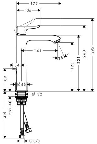 Baterie lavoar Hansgrohe Metris 200, ventil pop-up, pentru lavoar tip bol, crom [1]