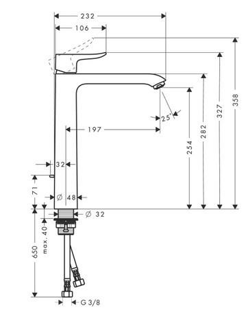 Baterie lavoar Hansgrohe Metris 260, ventil pop-up, pentru lavoar tip bol, crom 1