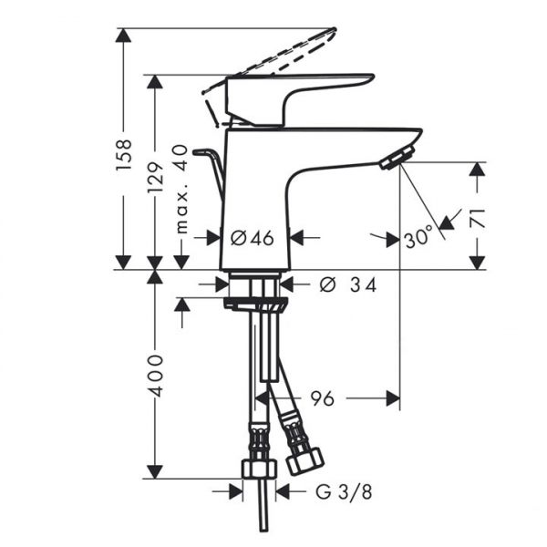 Baterie lavoar Hansgrohe Talis E 80, ventil push-open 1