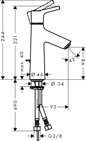 Baterie lavoar Hansgrohe Talis S 100, ventil pop-up 1