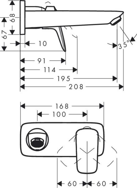 Baterie lavoar Hansgrohe Logis cu pipa 195mm, montaj incastrat, necesita corp ingropat 1