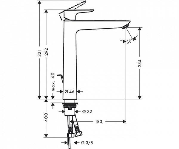 Baterie lavoar Hansgrohe Talis E 240, ventil pop-up, pentru lavoar tip bol, crom 1