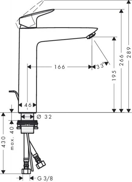 Baterie lavoar Hansgrohe Logis 190, ventil pop-up, pentru lavoar tip bol 2