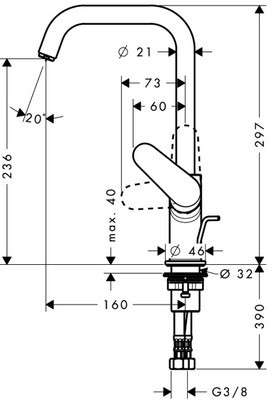 Baterie lavoar Hansgrohe Focus 240, ventil pop-up, crom 1