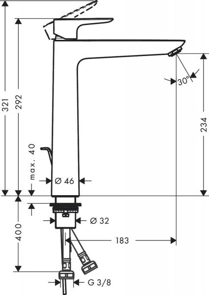 Baterie lavoar Hansgrohe Talis E 240, ventil pop-up, pentru lavoar tip bol, alb mat 1