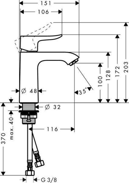 Baterie lavoar Hansgrohe Metris 110, fara ventil 1