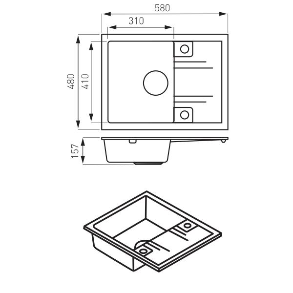 Chiuveta granit 1 cuva si storcator 48x58  MEZZO II, grafit shine 1