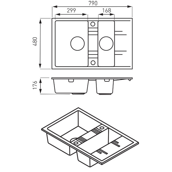 Chiuveta granit 2 cuva si storcator 48x79  MEZZO II, grafit 1