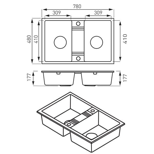 Chiuveta granit 2 cuve 48x78  MEZZO II, gri 1