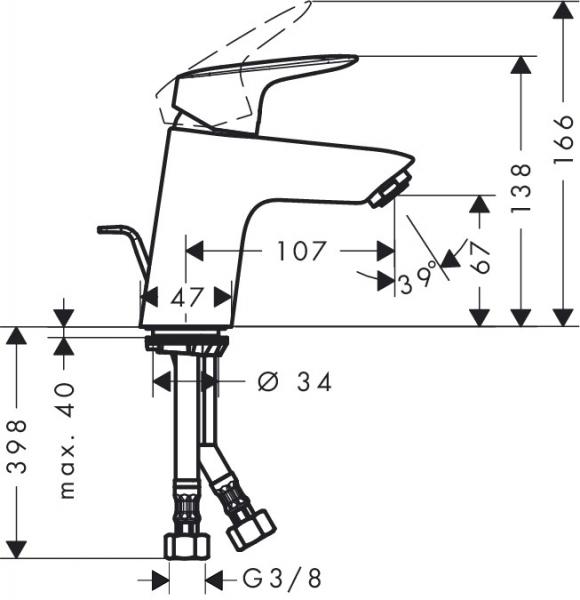 Baterie lavoar Hansgrohe Logis 70, ventil pop-up 1