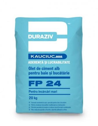 DURAZIV FP 24 Glet de încărcare, pe bază de ciment alb, aditivat cu Kauciuc®  Pentru interior Aditivat cu Kauciuc® Fibre de armare 0