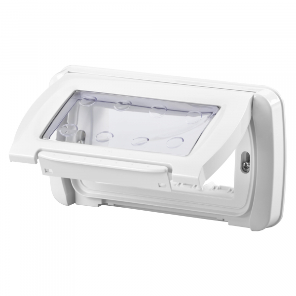 Capac cu rama Gewiss System GW22461, 4 module, IP55, alb 0