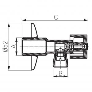 """Robinet coltar sferic cu maneta metalica - 1/2""""-1/2"""" (Z1212K)1"""
