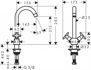 Baterie bucatarie Hansgrohe Logis Classic dubla-comanda1