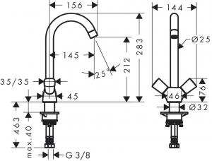 Baterie bucatarie Hansgrohe Logis dubla-comanda1