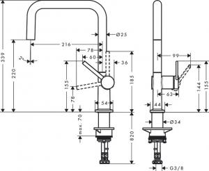 Baterie bucatarie Hansgrohe Talis M54 U 220 negru mat1