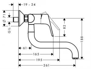Baterie bucatarie Hansgrohe Focus dubla-comanda, montare pe perete1