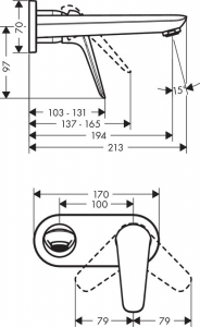 Baterie lavoar Hansgrohe Novus de perete, necesita corp ingropat1