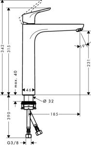 Baterie lavoar Hansgrohe Focus 230 pentru lavoar tip bol, fara ventil, crom1