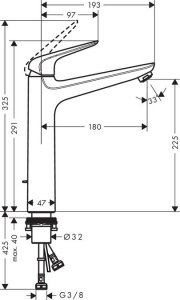 Baterie lavoar Hansgrohe Novus 230 pentru lavoare tip bol, ventil pop-up2
