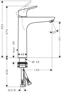 Baterie lavoar Hansgrohe Focus 190, ventil pop-up, pentru lavoar tip bol, crom1
