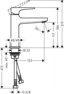 Baterie lavoar Hansgrohe Metropol 110, ventil push-open cu levier decupat1