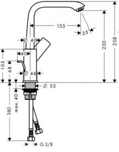 Baterie lavoar Hansgrohe Metris 230, ventil pop-up, crom1