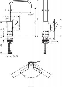 Baterie lavoar Hansgrohe Metropol 230 inalta, ventil push-open1
