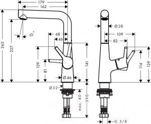 Baterie lavoar Hansgrohe Talis S 210, ventil pop-up, pentru lavoar tip bol1