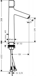Baterie lavoar Hansgrohe Metropol 100, ventil push-open cu levier decupat, pipa 127 mm1
