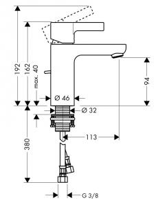 Baterie lavoar Hansgrohe Metris S, ventil pop-up, crom [1]