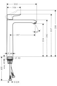 Baterie lavoar Hansgrohe Metris 260 inalta, fara ventil1