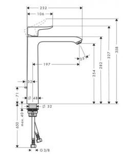 Baterie lavoar Hansgrohe Metris 260, ventil pop-up, pentru lavoar tip bol, crom1