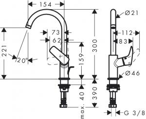 Baterie lavoar Hansgrohe Logis 210, ventil pop-up, pentru lavoar tip bol [1]