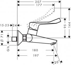 Baterie lavoar Hansgrohe Focus de perete, maner lung, fara ventil1