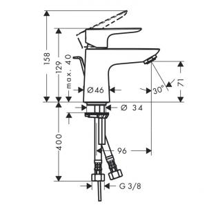 Baterie lavoar Hansgrohe Talis E 80, ventil push-open1